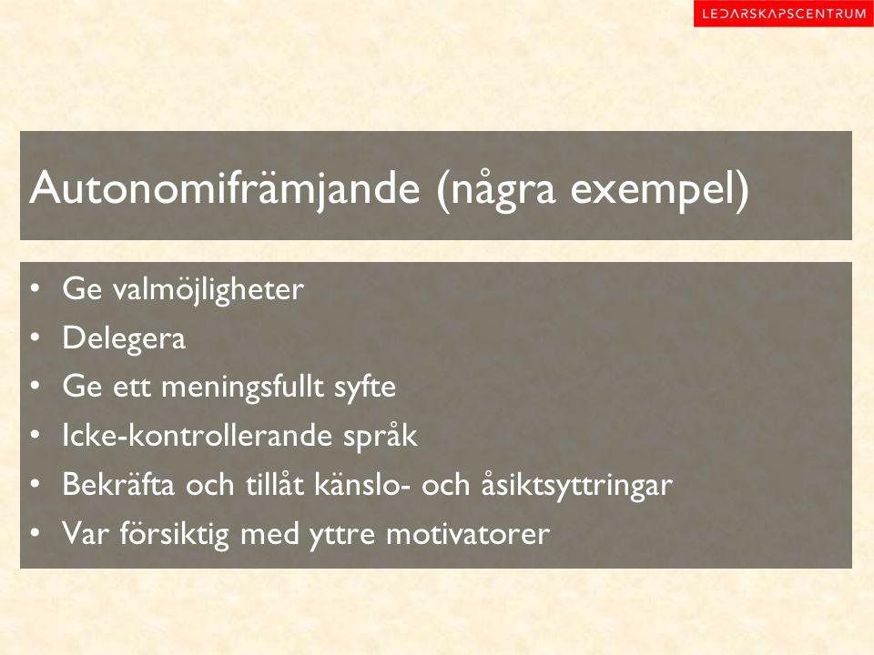 Autonomifrämjande (några exempel)