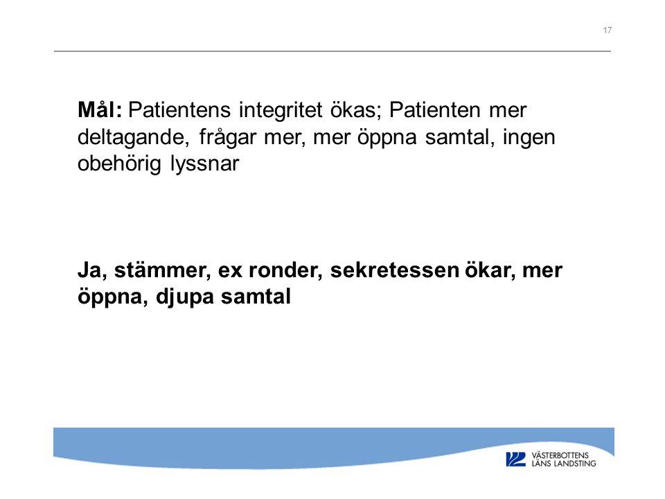 Mål: Patientens integritet ökas; Patienten mer deltagande, frågar mer, mer öppna samtal, ingen obehörig lyssnar