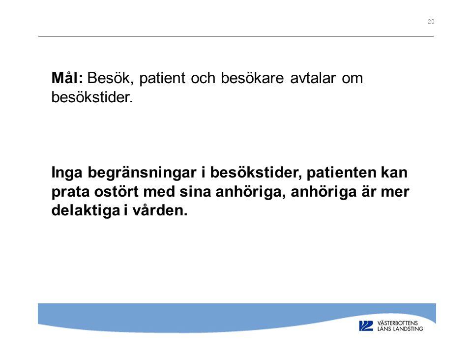 Mål: Besök, patient och besökare avtalar om besökstider.