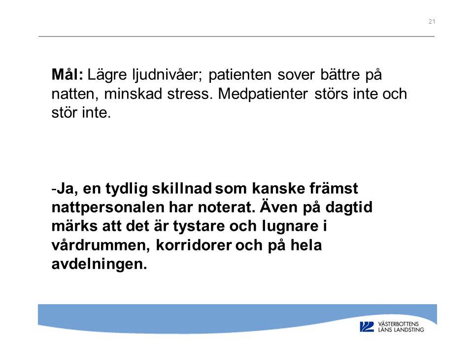 Mål: Lägre ljudnivåer; patienten sover bättre på natten, minskad stress. Medpatienter störs inte och stör inte.