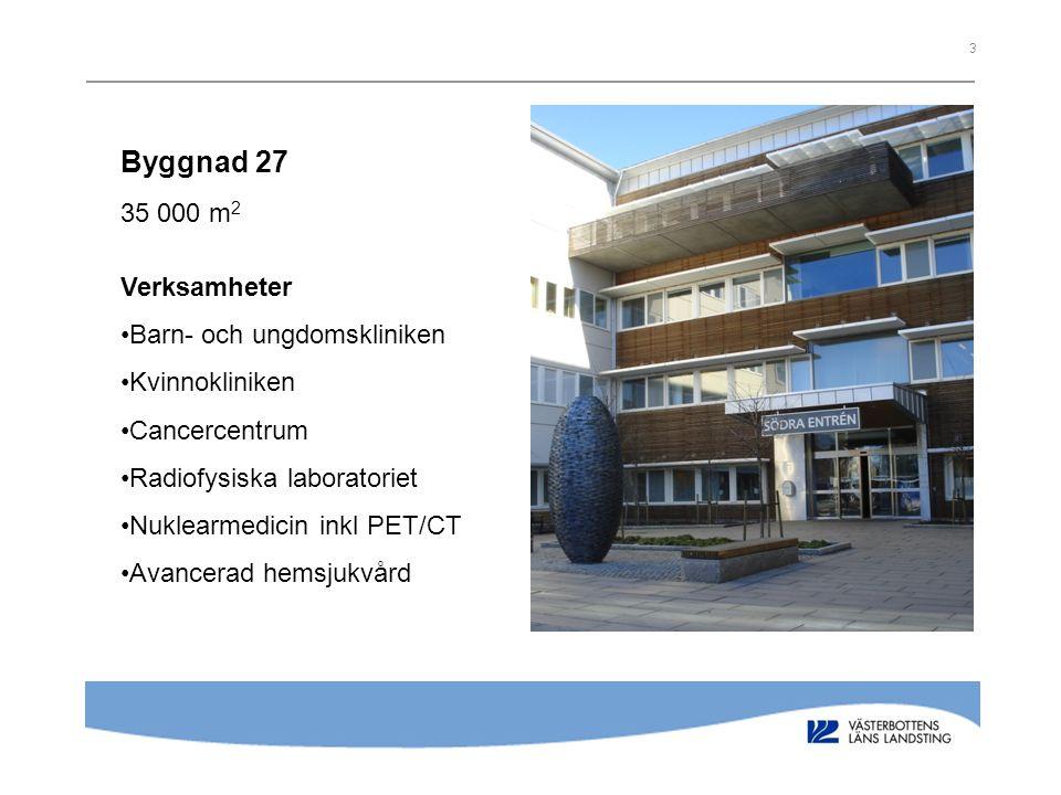 Byggnad 27 35 000 m2 Verksamheter Barn- och ungdomskliniken