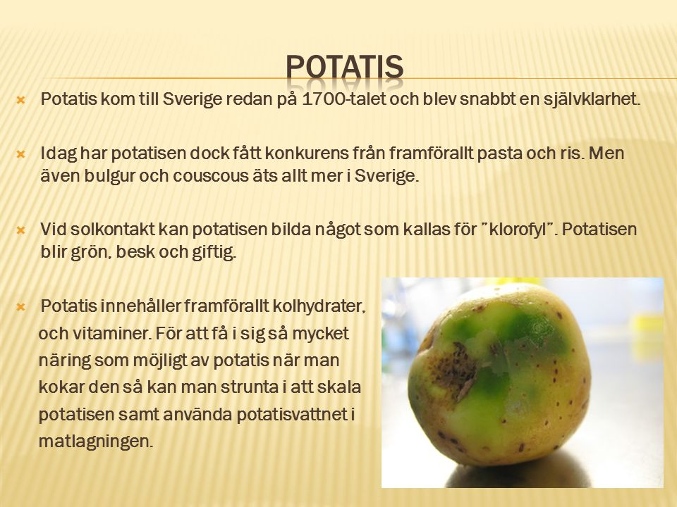 Potatis Potatis kom till Sverige redan på 1700-talet och blev snabbt en självklarhet.