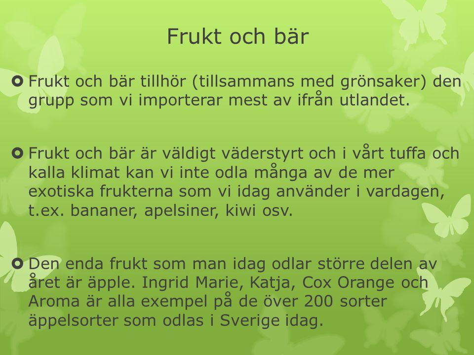 Frukt och bär Frukt och bär tillhör (tillsammans med grönsaker) den grupp som vi importerar mest av ifrån utlandet.