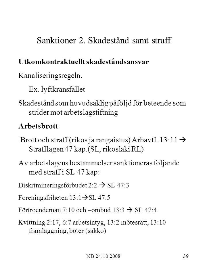 Sanktioner 2. Skadestånd samt straff