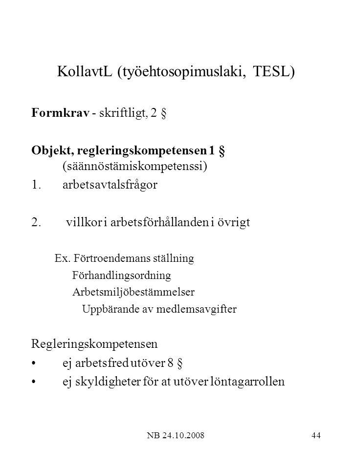 KollavtL (työehtosopimuslaki, TESL)