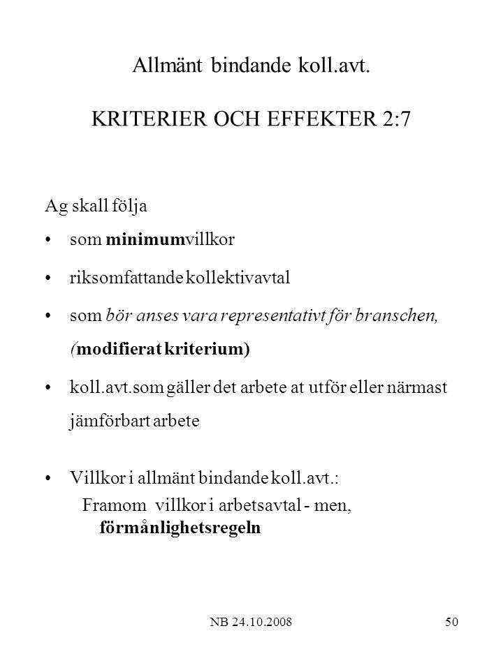 Allmänt bindande koll.avt. KRITERIER OCH EFFEKTER 2:7
