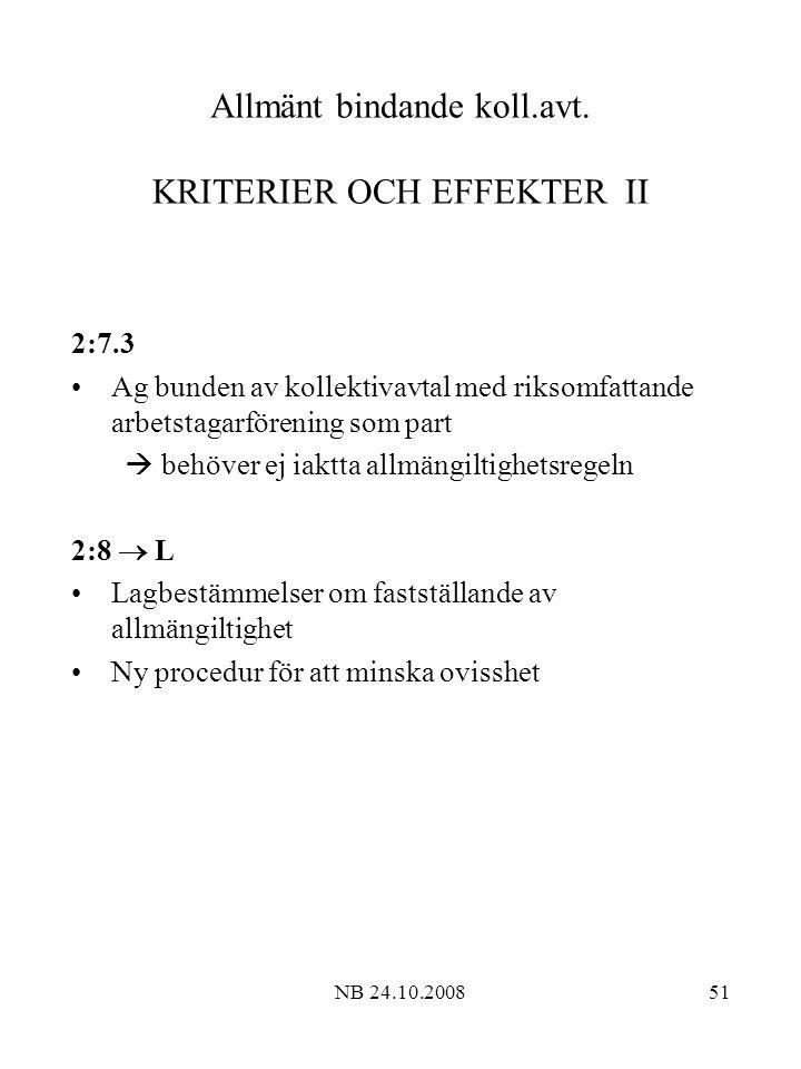 Allmänt bindande koll.avt. KRITERIER OCH EFFEKTER II