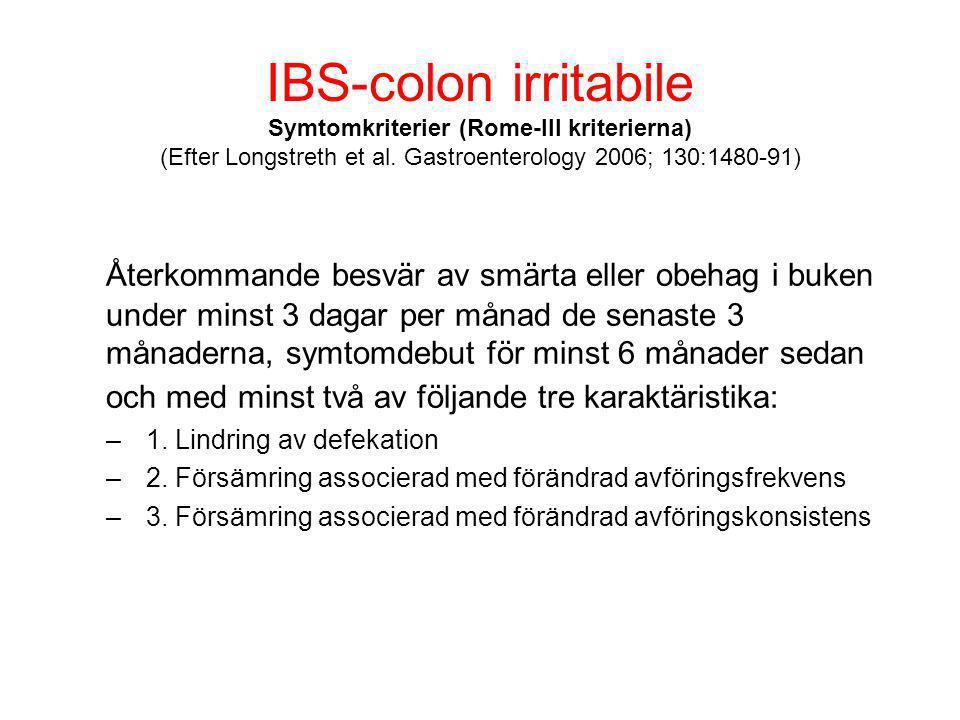 IBS-colon irritabile Symtomkriterier (Rome-III kriterierna) (Efter Longstreth et al. Gastroenterology 2006; 130:1480-91)