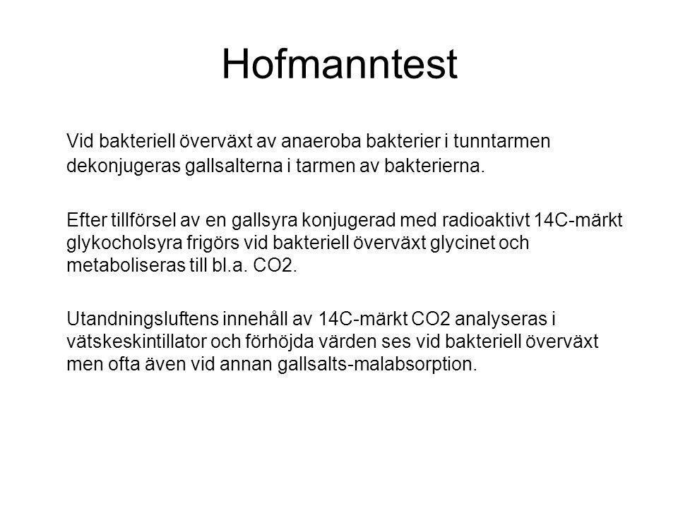 Hofmanntest Vid bakteriell överväxt av anaeroba bakterier i tunntarmen dekonjugeras gallsalterna i tarmen av bakterierna.