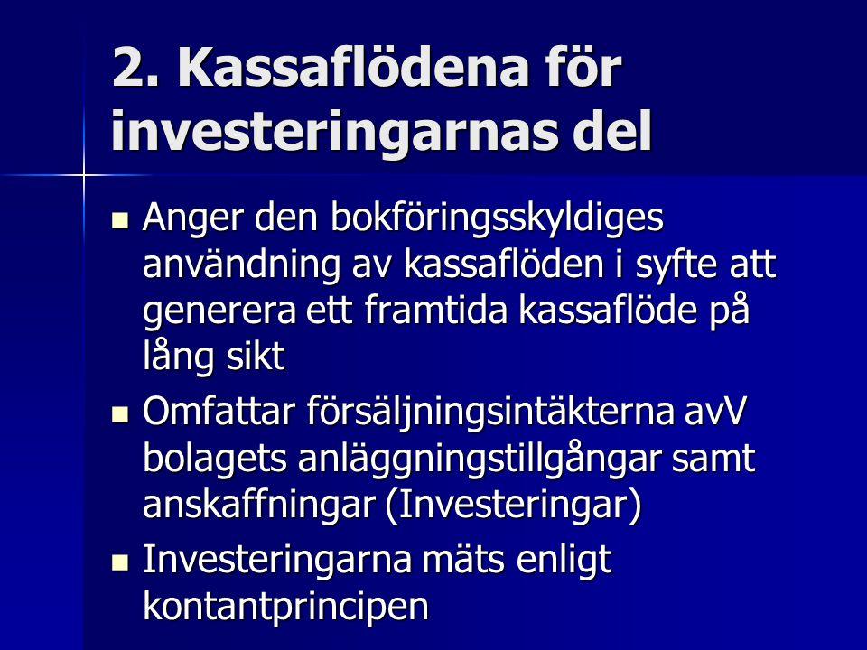 2. Kassaflödena för investeringarnas del