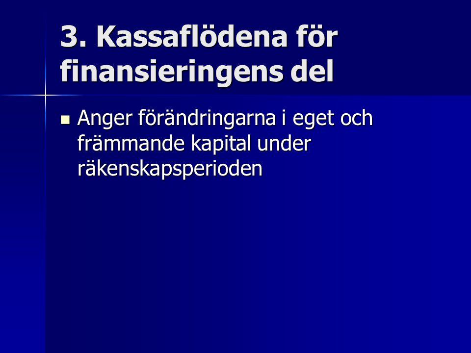3. Kassaflödena för finansieringens del