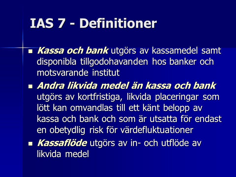 IAS 7 - Definitioner Kassa och bank utgörs av kassamedel samt disponibla tillgodohavanden hos banker och motsvarande institut.