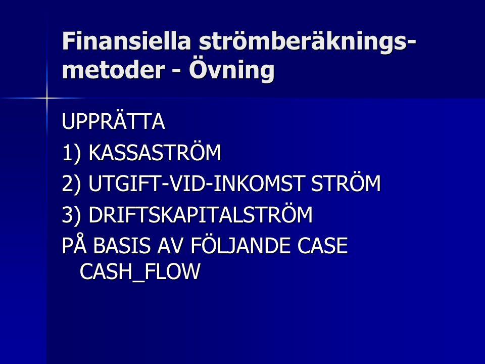 Finansiella strömberäknings-metoder - Övning