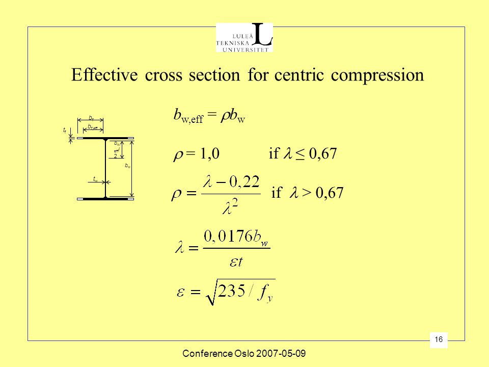 Effective cross section for centric compression