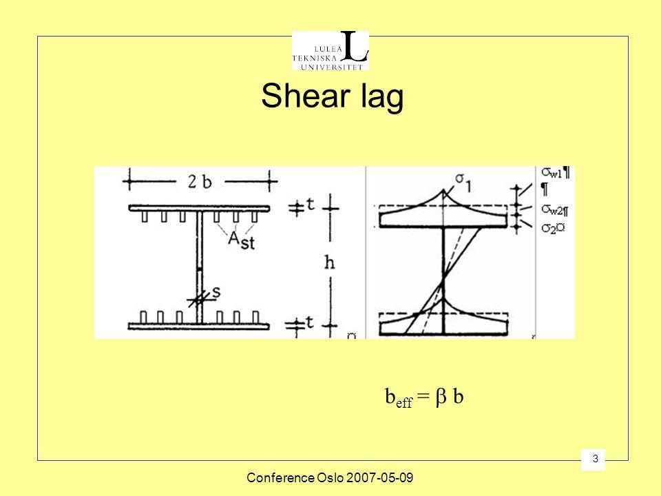 Shear lag beff =  b Conference Oslo 2007-05-09
