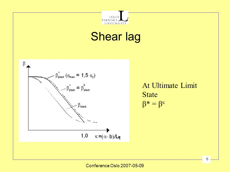 Shear lag At Ultimate Limit State * =  Conference Oslo 2007-05-09