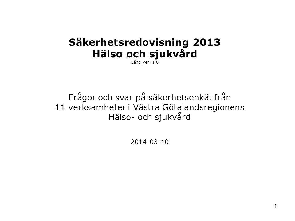 Säkerhetsredovisning 2013