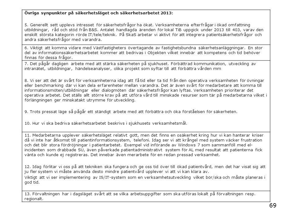 Övriga synpunkter på säkerhetsläget och säkerhetsarbetet 2013: