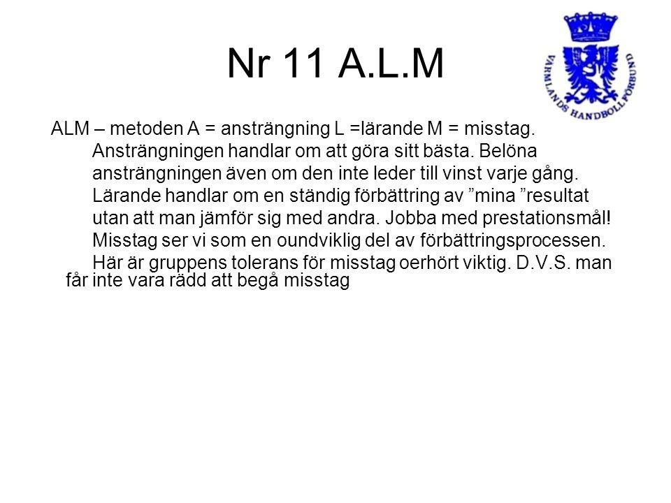 Nr 11 A.L.M ALM – metoden A = ansträngning L =lärande M = misstag.