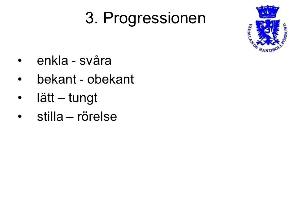 3. Progressionen enkla - svåra bekant - obekant lätt – tungt