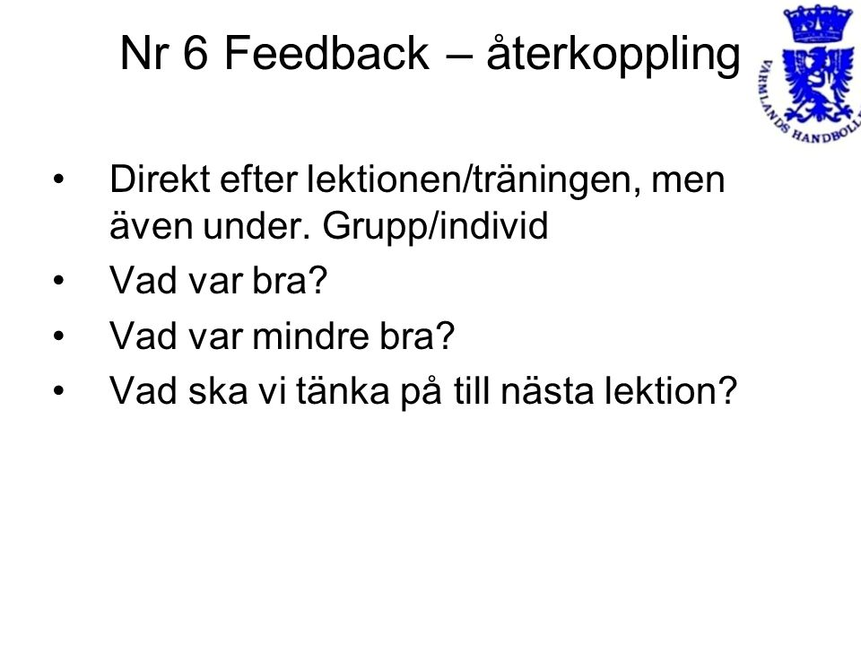 Nr 6 Feedback – återkoppling