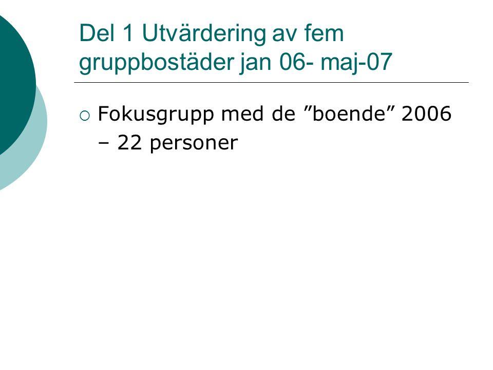 Del 1 Utvärdering av fem gruppbostäder jan 06- maj-07