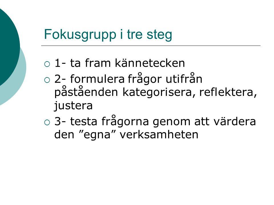 Fokusgrupp i tre steg 1- ta fram kännetecken