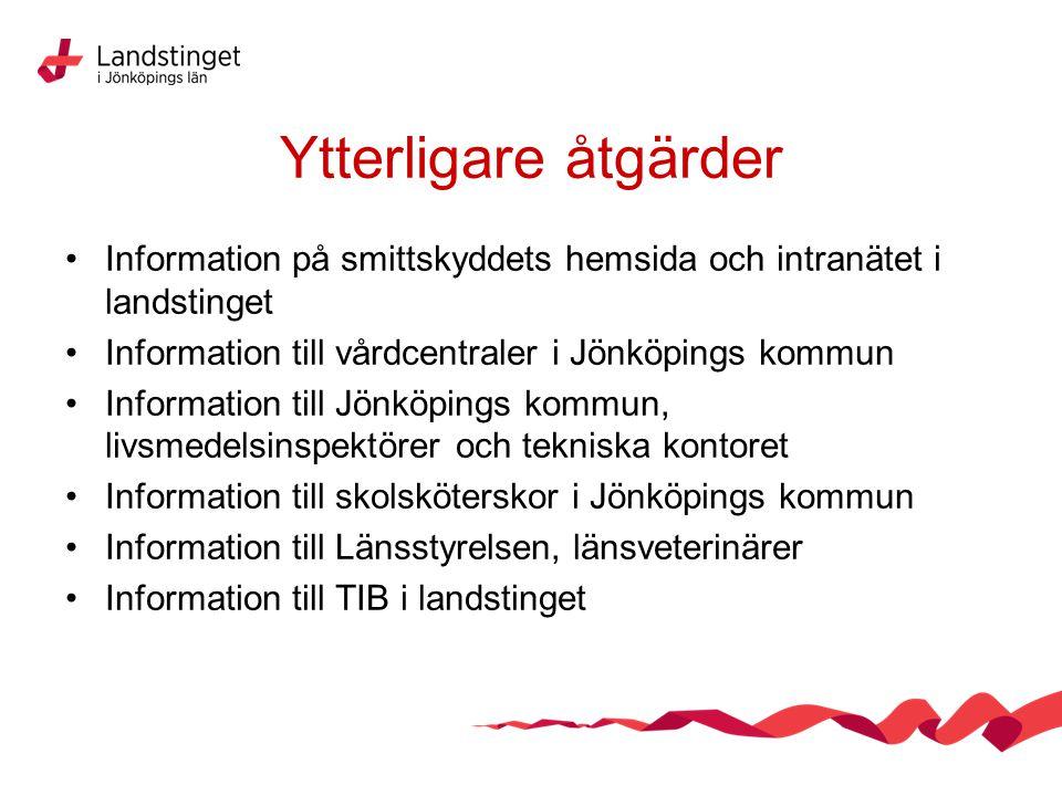 Ytterligare åtgärder Information på smittskyddets hemsida och intranätet i landstinget. Information till vårdcentraler i Jönköpings kommun.