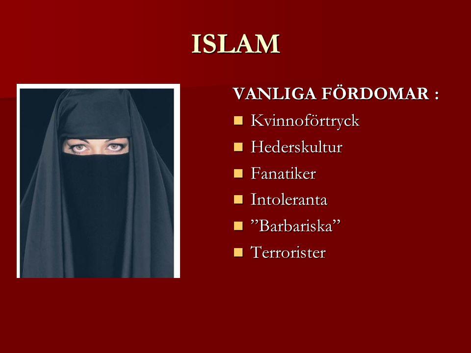 ISLAM VANLIGA FÖRDOMAR : Kvinnoförtryck Hederskultur Fanatiker