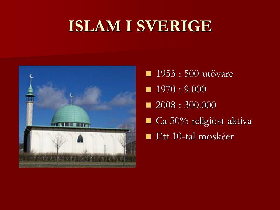 ISLAM I SVERIGE 1953 : 500 utövare 1970 : 9.000 2008 : 300.000