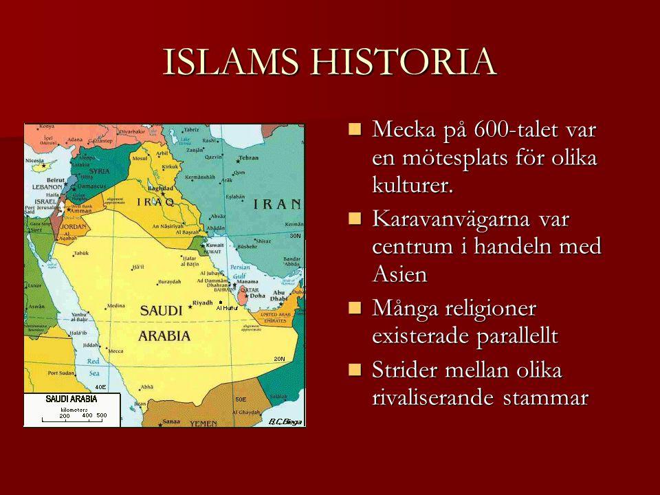ISLAMS HISTORIA Mecka på 600-talet var en mötesplats för olika kulturer. Karavanvägarna var centrum i handeln med Asien.