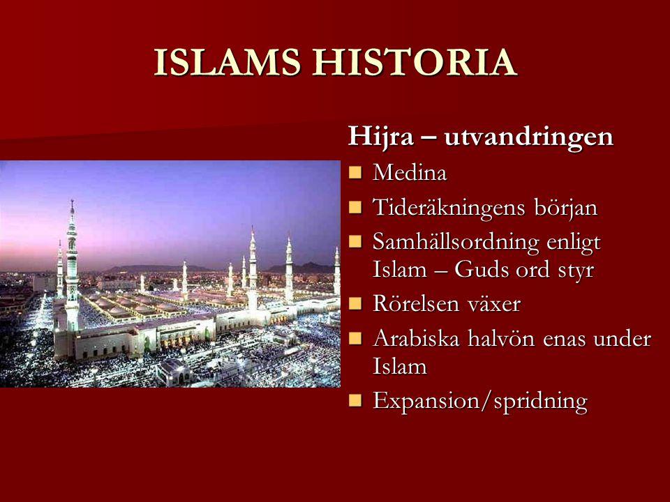 ISLAMS HISTORIA Hijra – utvandringen Medina Tideräkningens början