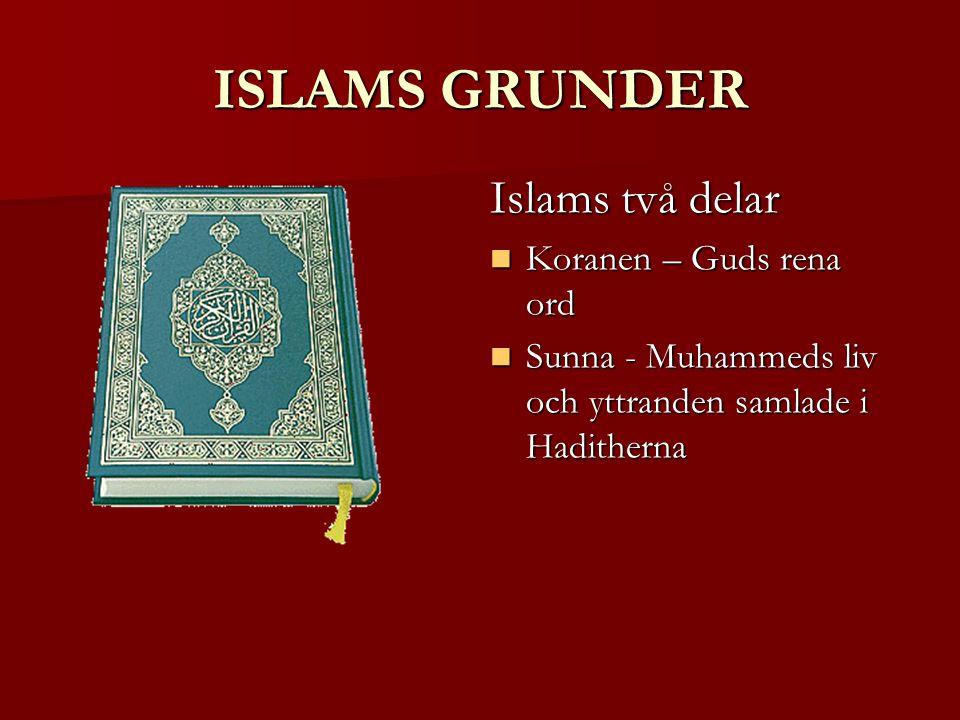 ISLAMS GRUNDER Islams två delar Koranen – Guds rena ord