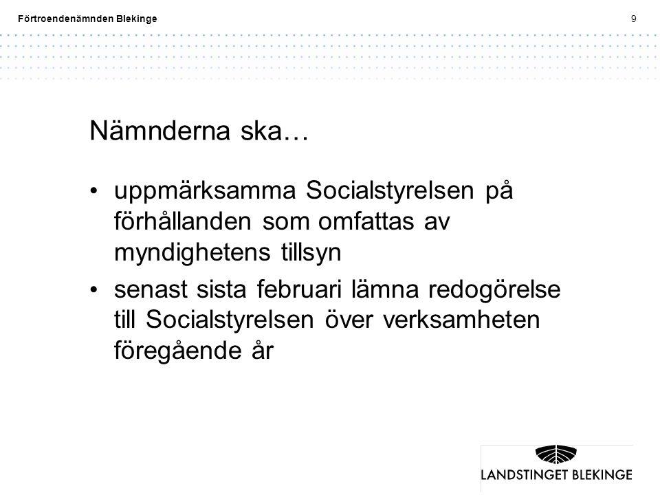 Nämnderna ska… uppmärksamma Socialstyrelsen på förhållanden som omfattas av myndighetens tillsyn.