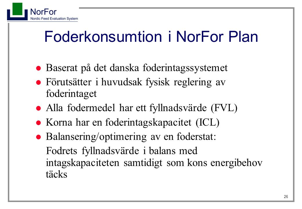 Foderkonsumtion i NorFor Plan