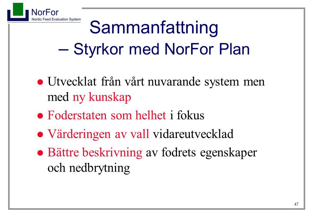 Sammanfattning – Styrkor med NorFor Plan