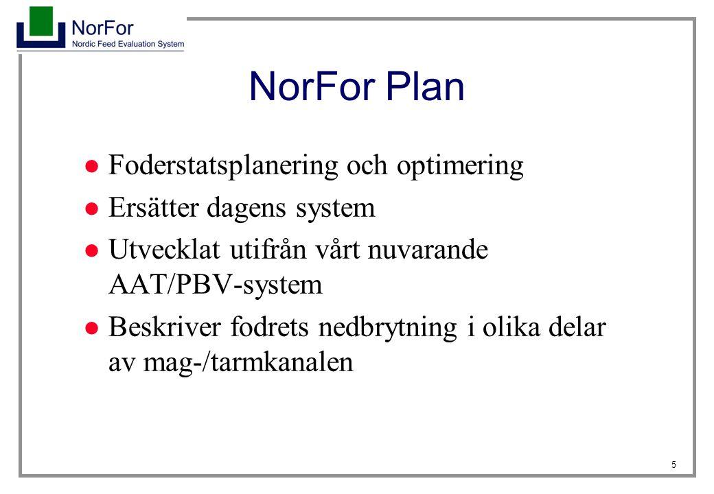NorFor Plan Foderstatsplanering och optimering Ersätter dagens system