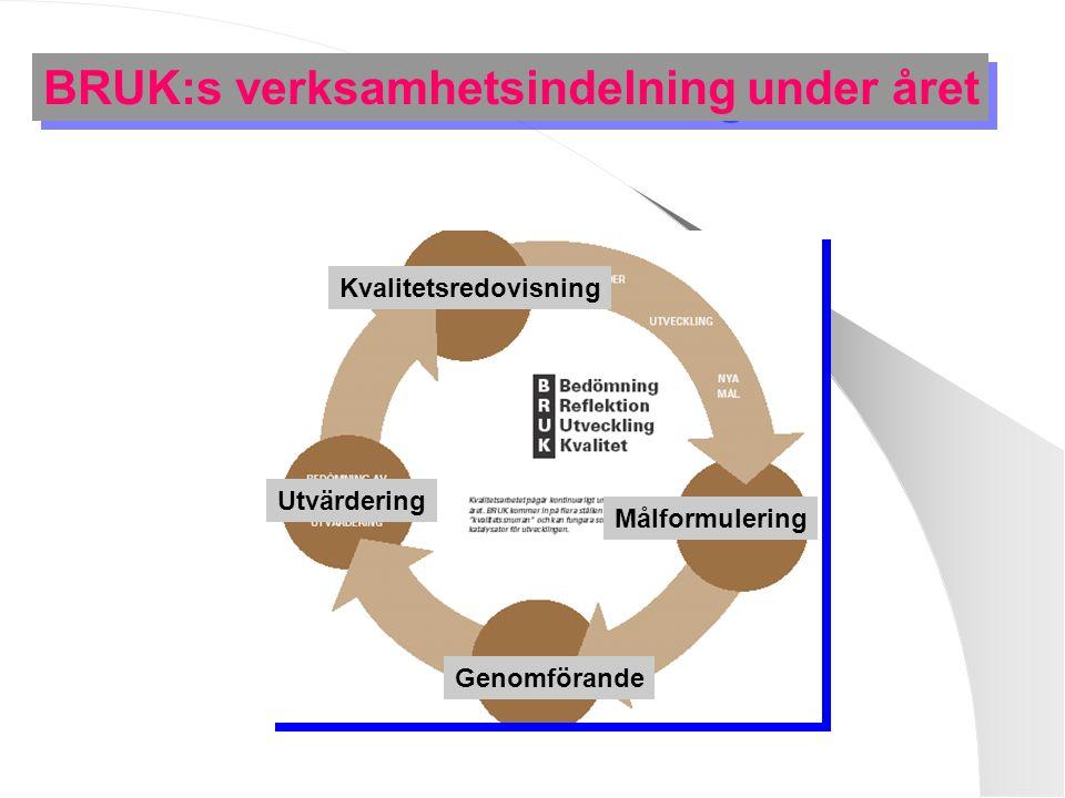 BRUK:s verksamhetsindelning under året Kvalitetsredovisning