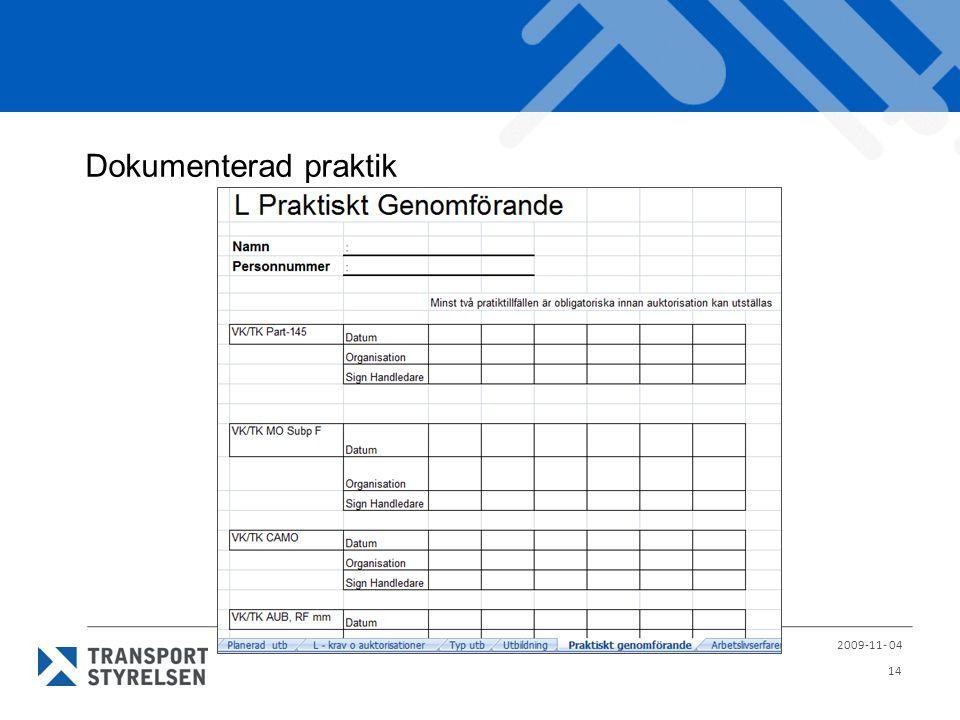 Dokumenterad praktik 2009-11- 04