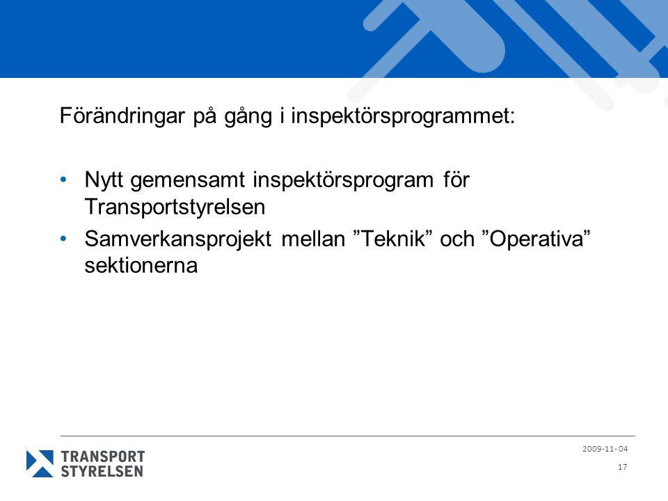 Förändringar på gång i inspektörsprogrammet: