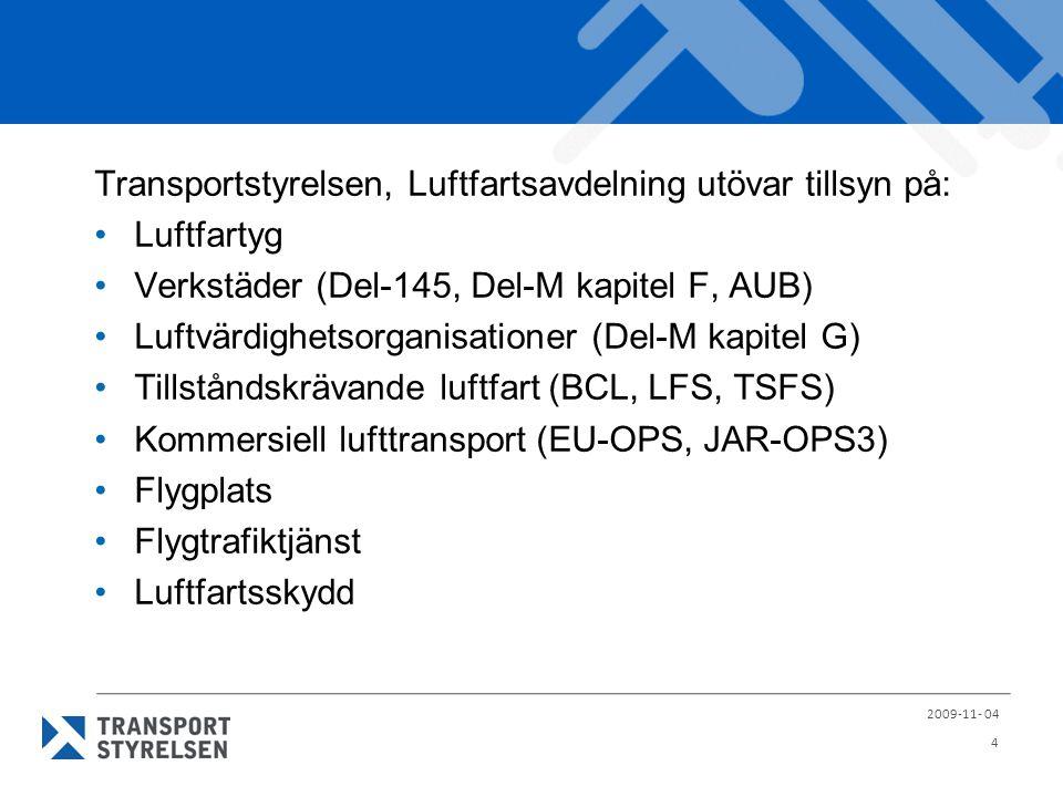 Transportstyrelsen, Luftfartsavdelning utövar tillsyn på: Luftfartyg