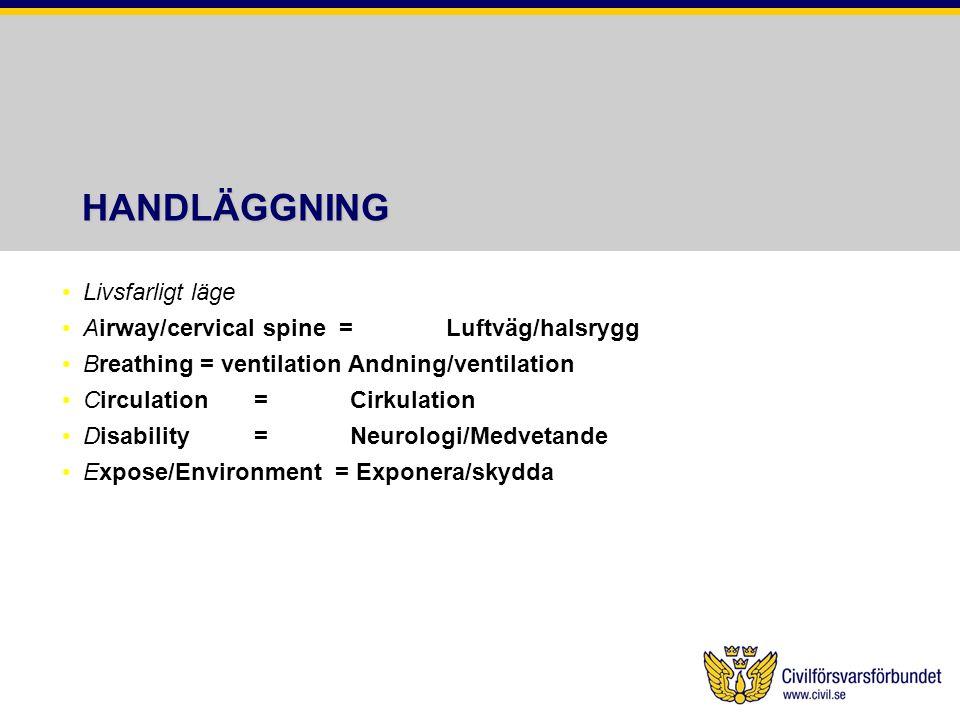 HANDLÄGGNING Livsfarligt läge Airway/cervical spine = Luftväg/halsrygg