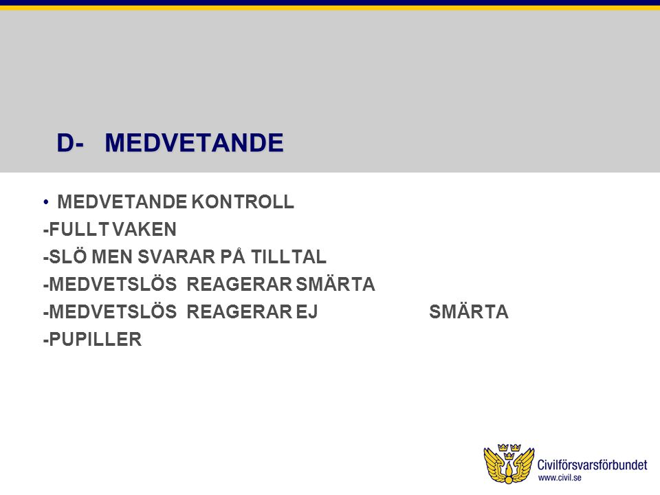 D- MEDVETANDE MEDVETANDE KONTROLL -FULLT VAKEN