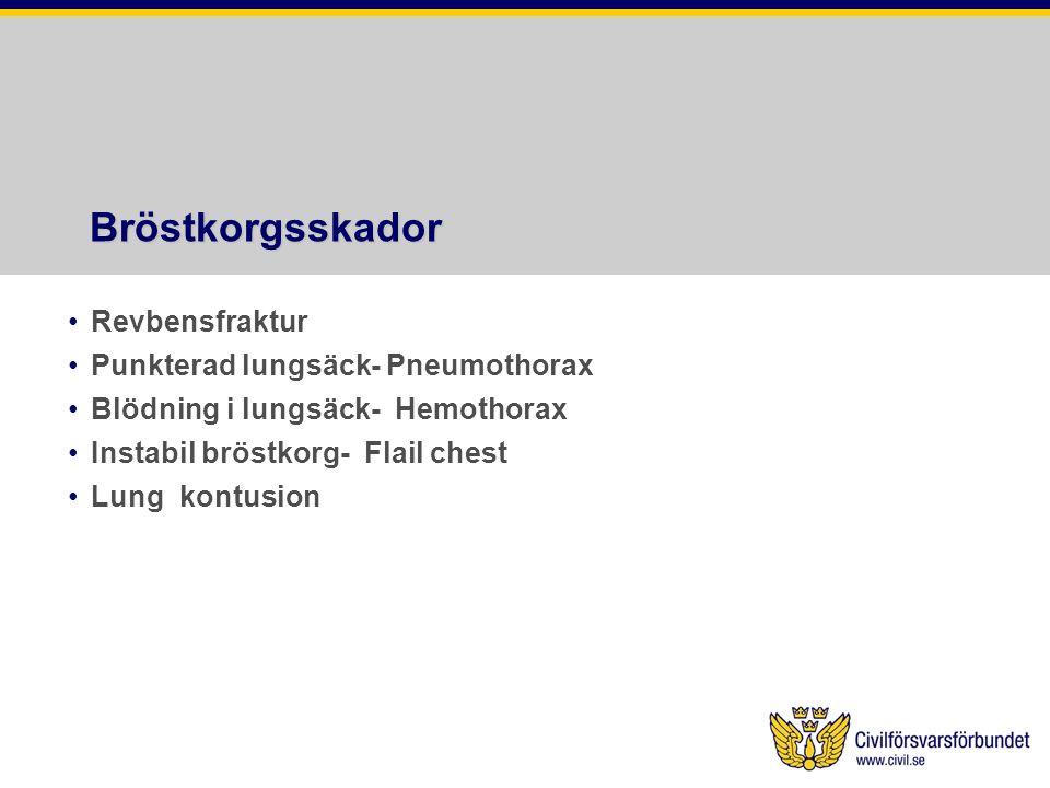 Bröstkorgsskador Revbensfraktur Punkterad lungsäck- Pneumothorax