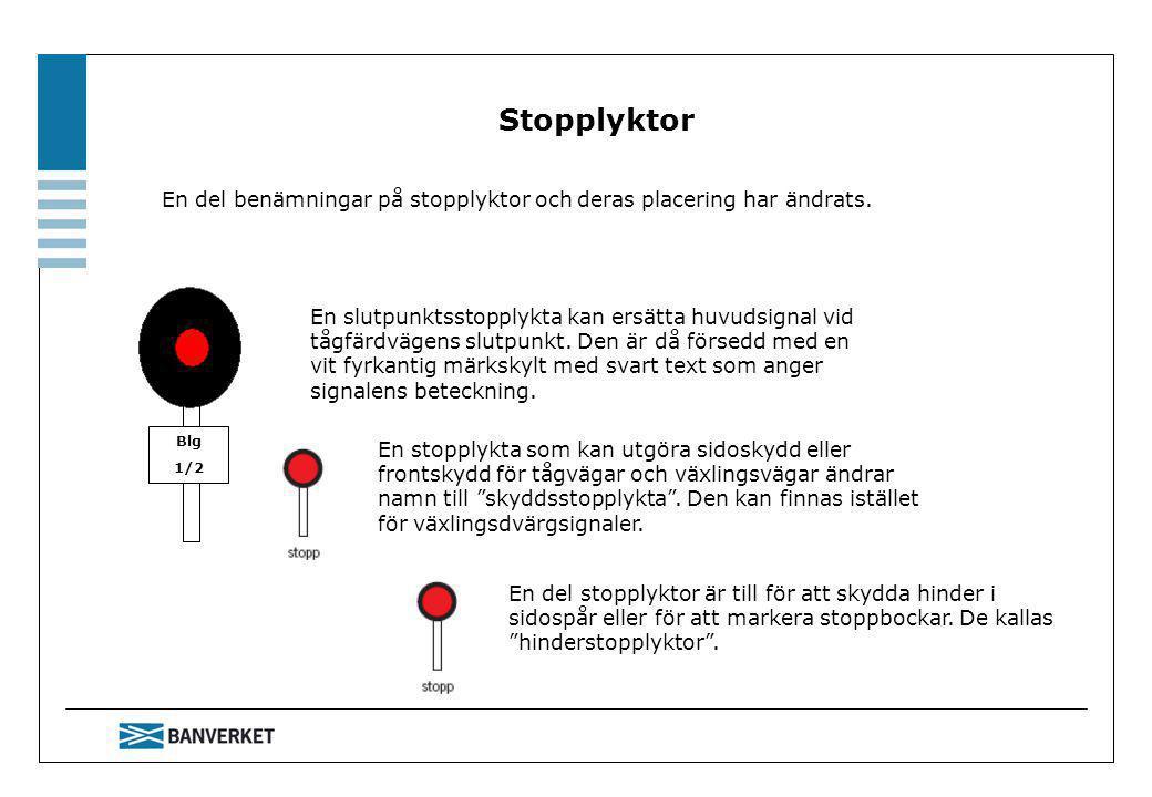 Stopplyktor En del benämningar på stopplyktor och deras placering har ändrats. Blg. 1/2.