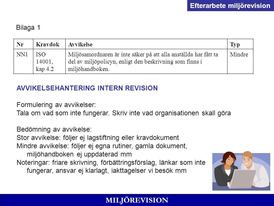 MILJÖREVISION Efterarbete miljörevision Bilaga 1