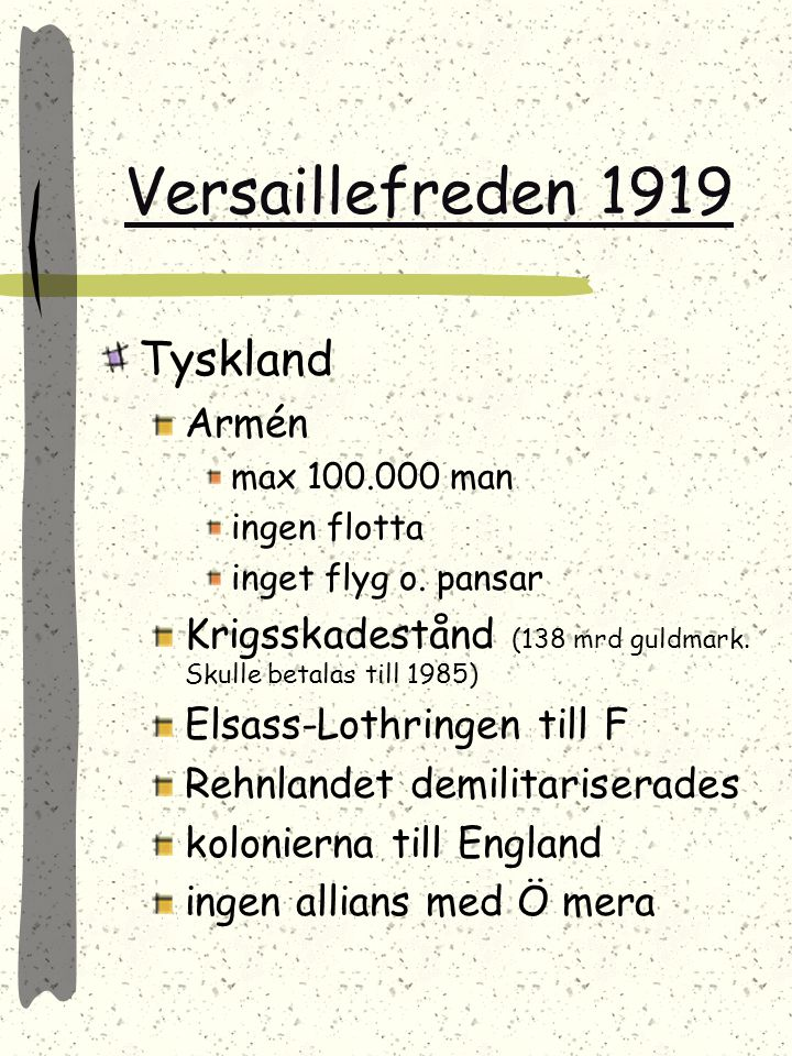 Versaillefreden 1919 Tyskland Armén