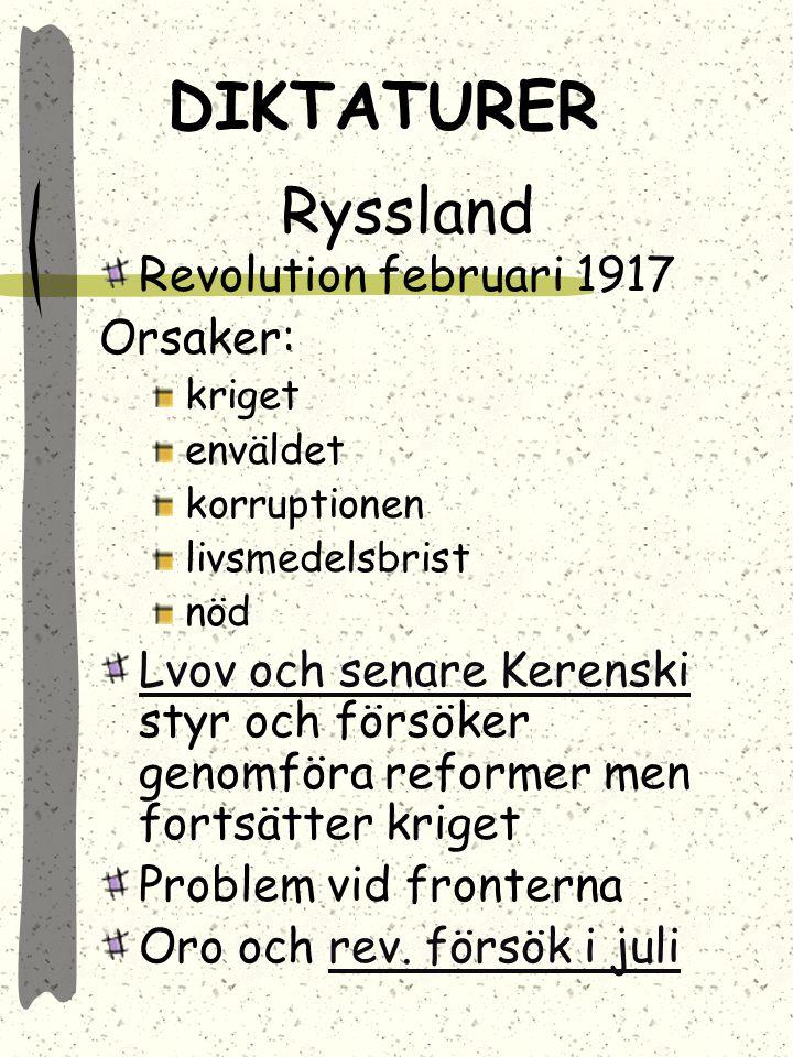 DIKTATURER Ryssland Revolution februari 1917 Orsaker: