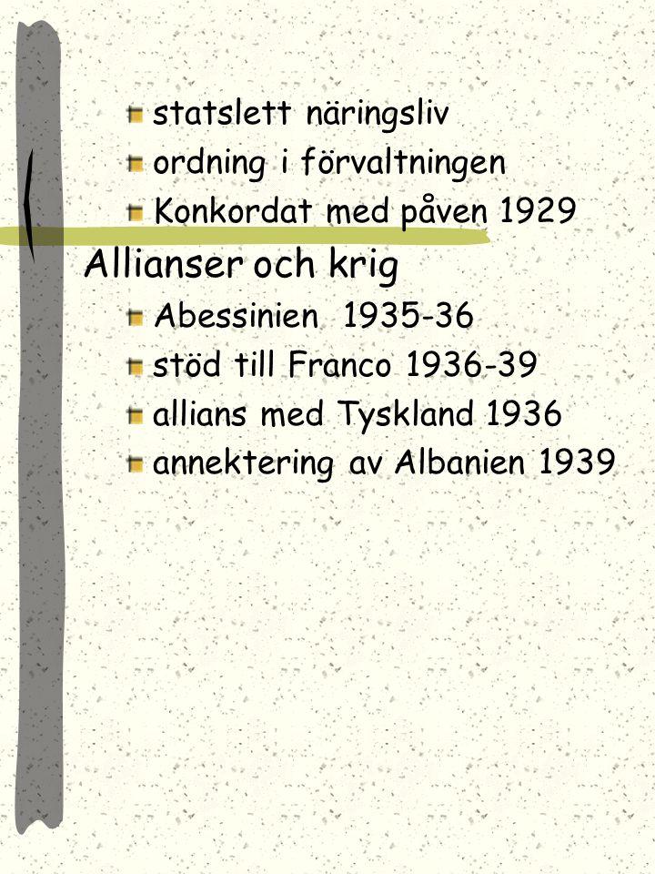 Allianser och krig statslett näringsliv ordning i förvaltningen