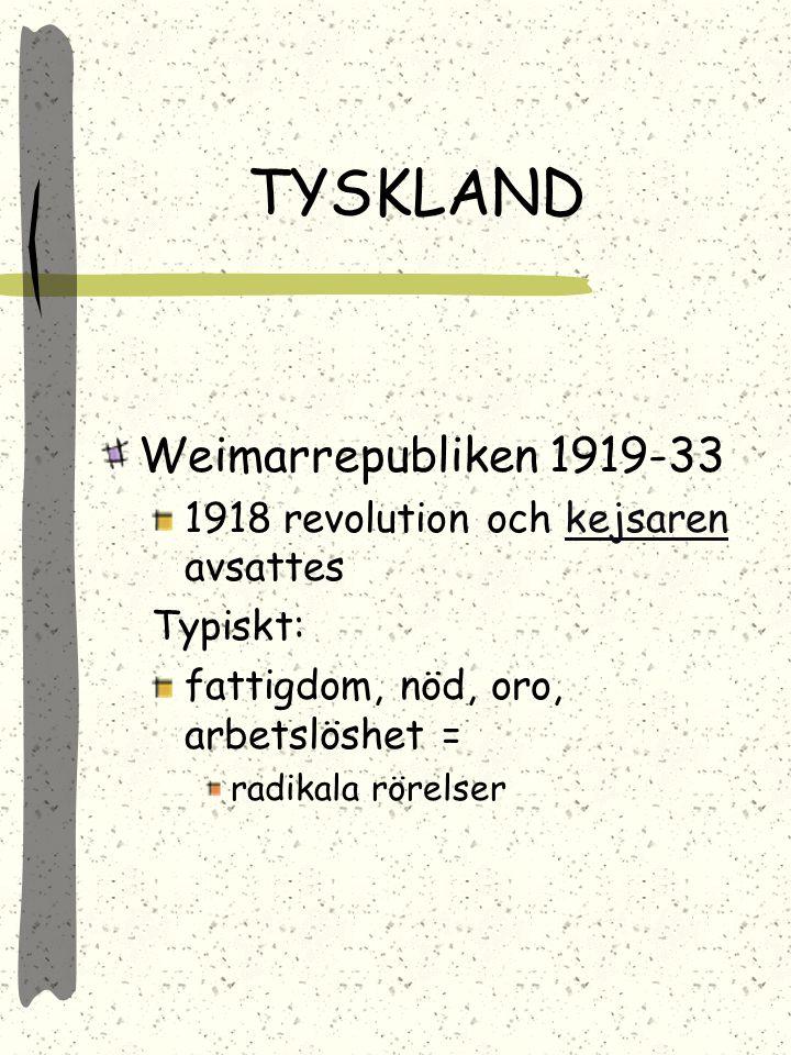 TYSKLAND Weimarrepubliken 1919-33